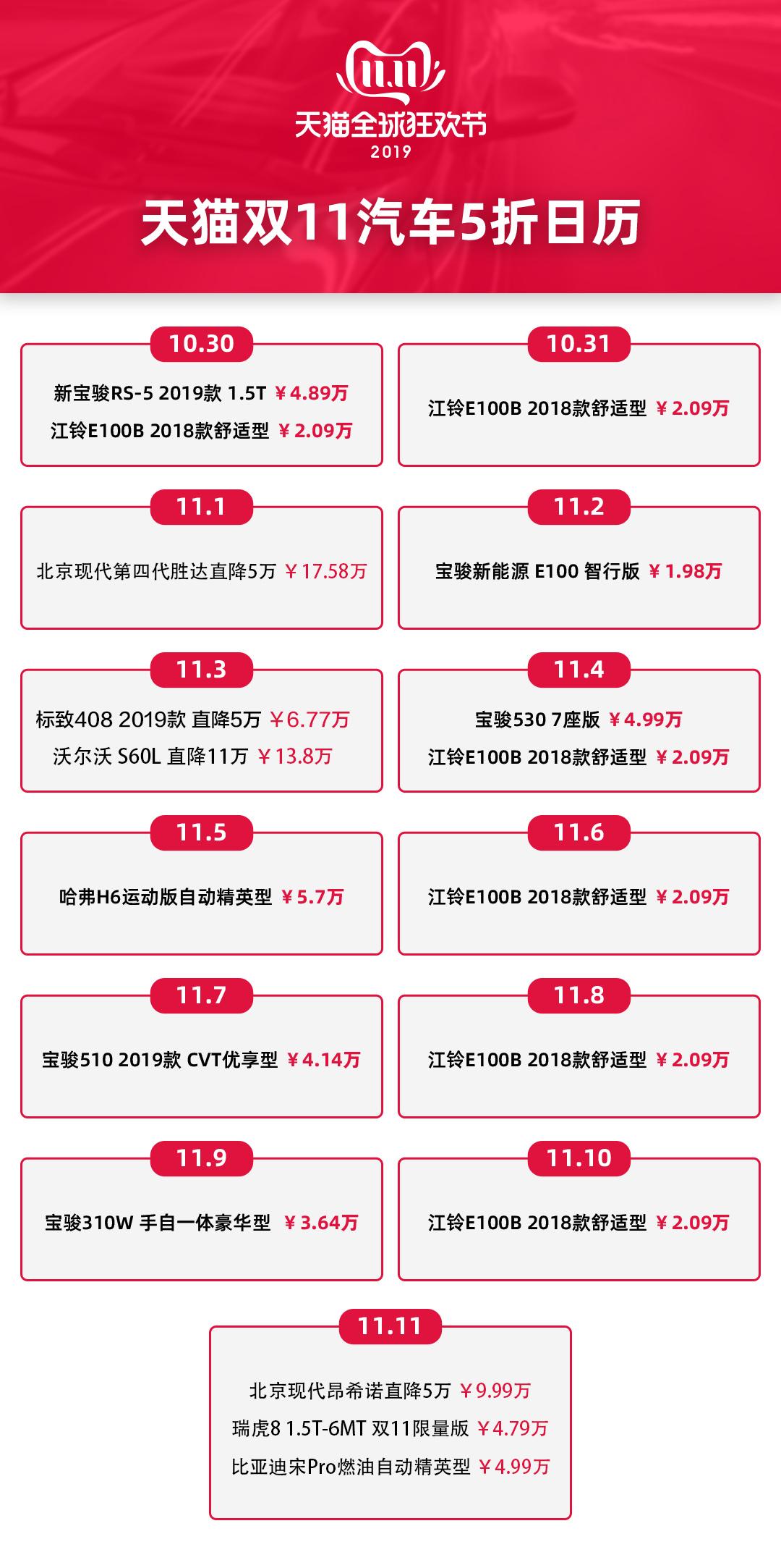 天猫双11将限量半价销售汽车 并开启直播卖车模式_零售_电商报