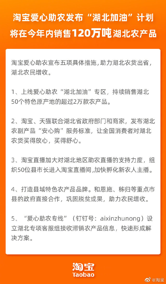"""淘宝爱心助农上线""""湖北加油""""专区"""