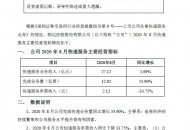 韵达股份:8月快递服务业务收入27.12亿元,同比增长1.69%