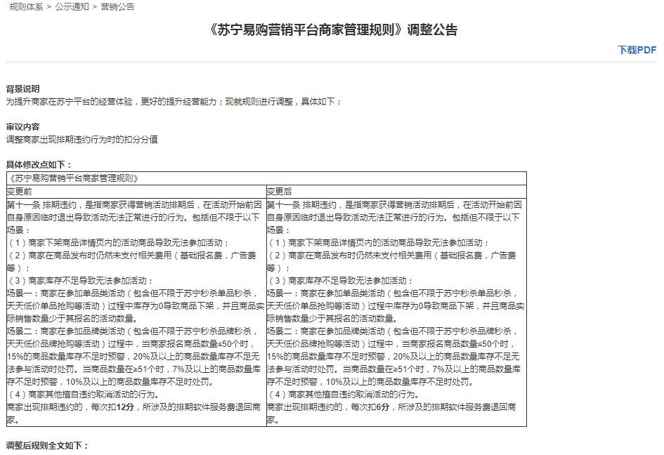 苏宁易购调整商家管理规则 减少排期违约扣分值_零售_电商报