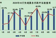 """10月有效快递服务问题同比降20%  """"三通一达""""申诉率均高于上月"""