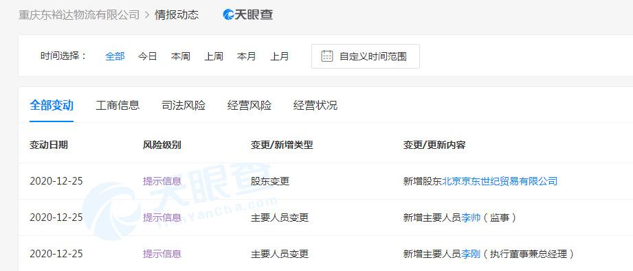 京东斥资超2亿元入股重庆东裕达物流有限公司