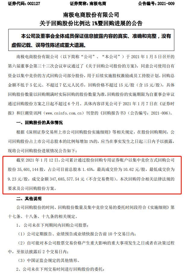 南极电商:累计回购公司股份3560万股_零售_电商报
