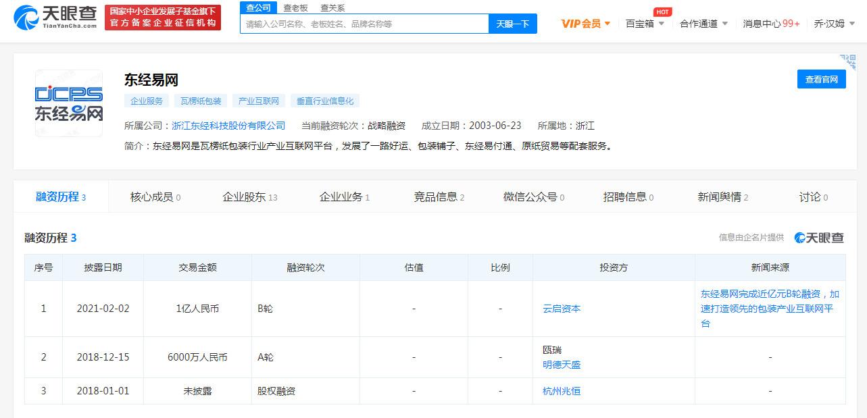 """包装供应链交易平台""""东经易网""""获1亿元B轮融资"""