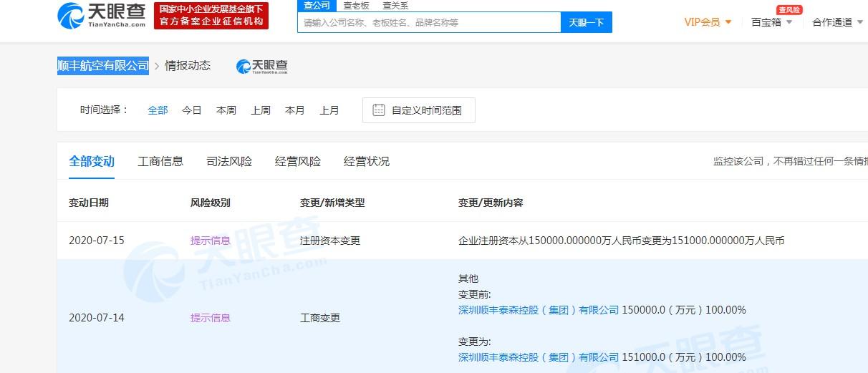 顺丰航空注册资本增加1000万_物流_电商报
