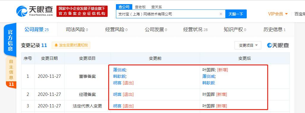 胡喜退出支付宝关联公司法定代表人_人物_电商报
