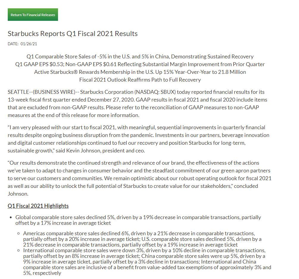 星巴克2021财年第一财季:实现营收67亿美元_零售_电商报